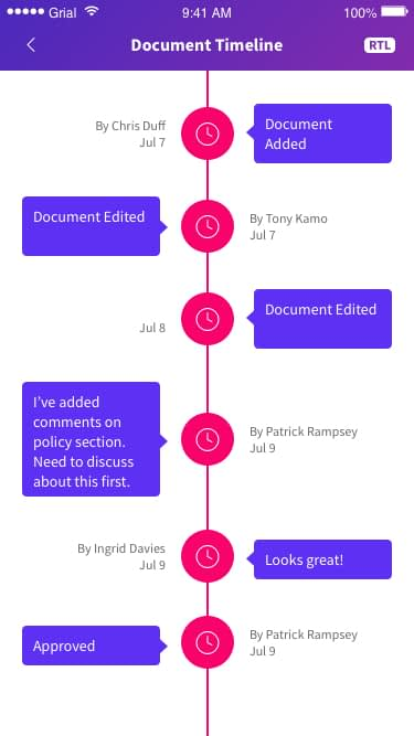 Document Timeline Page Xamarin.Forms XAML